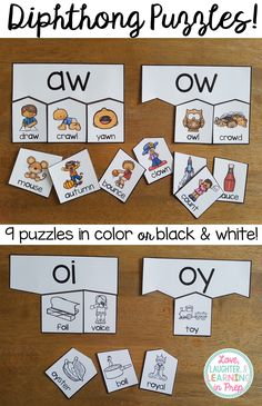 Diphthong Puzzles! Hands on phonics fun for little learners.