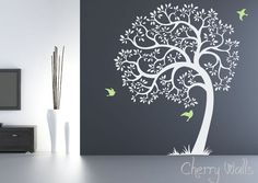 Tree Wall decal AMAZING tree removable vinyl decal. Nursery Decor tree and birds Wall Decals, Mural. $84.00, via Etsy.
