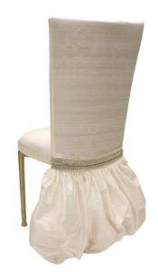 Dupioni Silk Light Ivory w/ Rhinestone Band - Wildflower Linen - Fashion Inspired Chair Accents  www.riley-jane.com