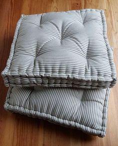 French Mattress Cushion Tutorial Ticking floor pillow or window seat cushion. Farmhouse cushion with vintage appeal. Farmhouse Seat Cushions, Window Seat Cushions, Floor Cushions, Chair Cushions, Farmhouse Fabric, Cushion Tutorial, Diy Cushion, French Mattress Cushion Diy, Cushion Headboard