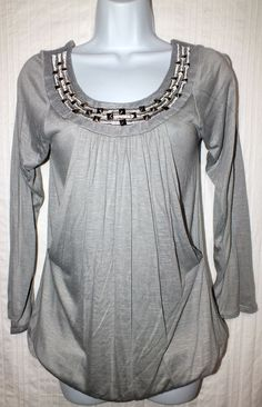 NWT Charmin Charlie Casual Gray Long Sleeve Women's Top Blouse Size M #CharmingCharlie #Blouse #Casual