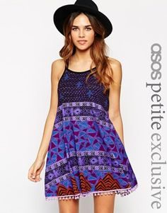 ASOS PETITE Gypsy Summer Dress with Pom Poms