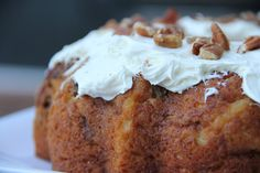 Hummingbird Bundt Cake...so good with pineapples and bananas in the batter.  Super moist!