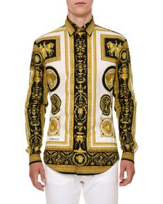 ef47a9bdd6 Archive+Frame+Cotton+Sport+Shirt+by+Versace+at+