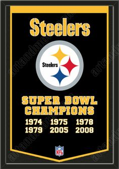 This Pittsburgh Steelers dynasty banner framed to 26 x 38 inches.  $199.99 @ ArtandMore.com