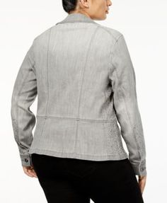 INC Plus Size Studded Moto Jacket, Created for Macy's - Gray 0X