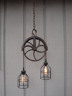 Upcycled Vintage Well Pulley Pendant Light with by BenclifDesigns, $249.00