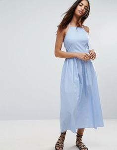 ASOS BLue Maxi Dress with Tie Back in Cotton Pinstripe