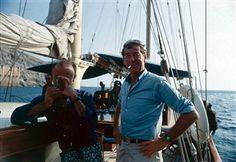 Photographer Slim Aarons on board a yacht off Capri, Italy, September 1968