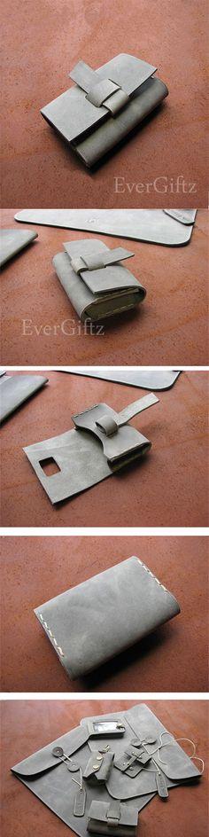 Handmade leather vintage women short wallet clutch coin change card purse wallet
