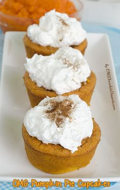 The inside of these outrageous little cupcakes is still packed with major pumpkin flavor and that smooth, custardy texture you crave in a classic pumpkin pie. Get the recipe from OMG Chocolate Desserts. Fall Desserts, Just Desserts, Delicious Desserts, Yummy Food, Cupcake Recipes, Baking Recipes, Cupcake Cakes, Dessert Recipes, Cupcake Vegan