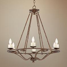 """Palmira 28"""" Wide Bronze 6-Light Chandelier"""