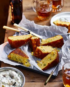 Jalapeño cornbread with charred spring onion sour cream - Serve this jalapeño cornbread on it's own as a snack for friends, or on the side of a big bowl of chilli. Pastry Recipes, Bread Recipes, Savoury Recipes, Cooking Recipes, Savory Bread Recipe, Jalapeno Cornbread, Cooking Bread, Savoury Baking, Onion Recipes