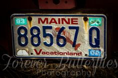 Maine Vintage License Plate Photography www.foreverbutterflies.com