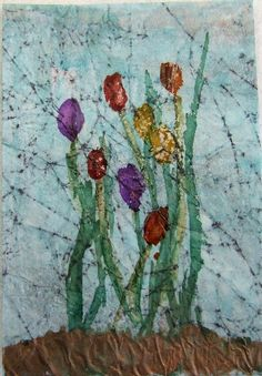 ACEO Ink Art Tulips on Waxpaper by PaperChainsandBeads on Etsy, $4.50