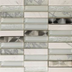 Beautifully stylish silver and white mosaic tiles perfect as mosaic bathroom tiles or mosaic kitchen tiles where a luxury finish is desired. Mosaic Tile Sheets, White Mosaic Tiles, White Wall Tiles, Glass Mosaic Tiles, Mosaic Wall, Kitchen Splashback Tiles, Tile Warehouse, Tile Showroom, Small Tiles