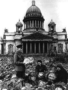 World War II, The 1941 – 1945 Great Patriotic War. Leningrad during the siege. Vegetable gardens near the gates of St. Isaac's Cathedral, c. 1943. Photo by Boris Kudoyarov.