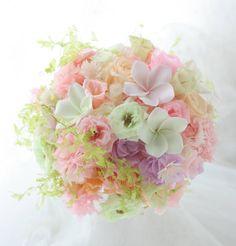 ラウンドブーケ プリザーブド 優しいパステル 静岡へ : 一会 ウエディングの花