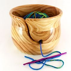 Large YARN BOWL, Wood with Awesome Waving Grains, Wood Tones and Magnificent High Gloss Finish for Knitting/Crochet; Lathe Projects, Wood Turning Projects, Easy Woodworking Projects, Wood Projects, Yarn Bowl, Woodworking Inspiration, Wood Bowls, Wood Lathe, Hobbies And Crafts