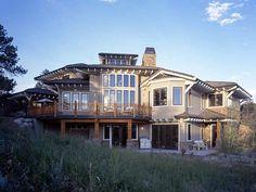 Craftsman Prairie Style Southwest Rear Elevation of Plan 43205