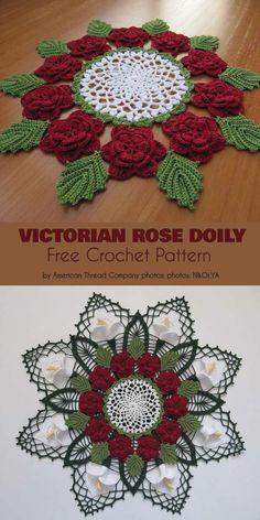 Victorian Rose Doily Free Crochet Pattern Victorian Rose Doily F. Free Crochet Doily Patterns, Crochet Mandala, Crochet Motif, Crochet Designs, Crochet Flowers, Easy Crochet, Crochet Skull, Free Pattern, Crochet Dollies