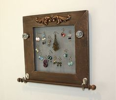 Rustic Jewelry Holder Earring Organizer Wall by onthewallusa, $27.00