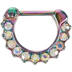 Hot Topic Steel Rainbow CZ Septum Clicker ($12) ❤ liked on Polyvore featuring jewelry, black, cz jewellery, cubic zirconia jewelry, iridescent jewelry, rainbow jewelry and cz jewelry