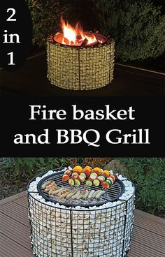 After your BBQ you can transform this gabion grill into a cozy fire basket!