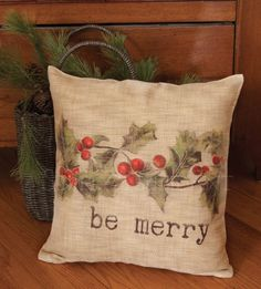 Christmas Holly Be Merry Pillow, Natural, Burlap Look, 18x18, Two Options