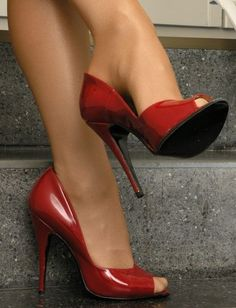 In My Mind's Eye Sexy Red Peep Toe Pumps Shoes Inspo