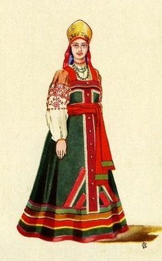 Russian traditional costume of a young girl from Kursk Province, middle 19th century. Illustration by V. Sorokin, 1957. #folk #art