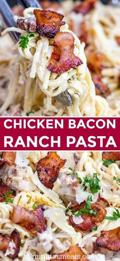 Chicken Ranch Pasta with Bacon makes a quick weeknight meal that is delicious and easy to make. This fami Chicken Ranch Pasta with Bacon makes a quick weeknight meal that is delicious and easy to make. This family favorite dinner is ready in 30 minutes! Best Pasta Recipes, Cooking Recipes, Chicken Recipes, Pasta Recipes Easy Quick, Delicious Pasta Recipes, Delicious Food, Bacon Pasta Recipes, Cooking Corn, Cooking Courses