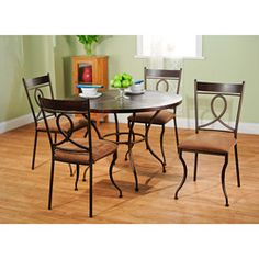 @Overstock - Spruce up your dining room or kitchen with this metal five-piece dining set from Elsa. Made from metal and engineered wood, the set features a distressed espresso finish and golden brown upholstery that work well with any color scheme.http://www.overstock.com/Home-Garden/Elsa-5-piece-Metal-Dining-Set/6153533/product.html?CID=214117 $310.49