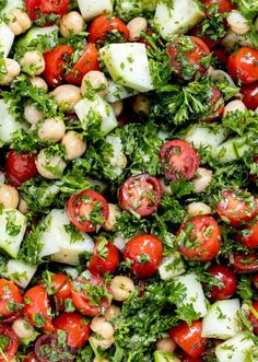 Make this fresh Tabouli Chick Pea Salad Recipe for a super healthy side dish or main course. Garbonzo bean salad with the flavors of tabouli salad are blended to make this fantastic protein-packed vegan salad that is gluten free and grain free. #chickpeasalad #glutenfreerecipe #grainfreesalad #veganrecipe #vegan #garbonzobeansalad #taboulisalad Best Side Dishes, Healthy Side Dishes, Whole Food Recipes, Cooking Recipes, Healthy Recipes, Healthy Food, Pea Salad Recipes, Clean Eating Salads, Gluten Free Sides Dishes