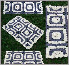 """Tapete de """"Quadrados Enganadores"""" com Fio de Malha ou Trapilhos (Crochet Rag Rug)"""