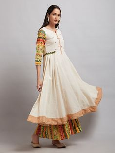 Buy Off White Printed Cotton Kurta online at Theloom