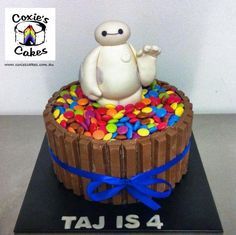 Baymax kitkat smarties cake. For my own son to share with his school friends falallalala