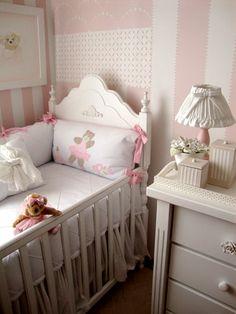pink and cream girl's nursery Baby Bedroom, Baby Room Decor, Nursery Room, Girl Nursery, Girls Bedroom, Teddy Bear Nursery, Daughters Room, Little Girl Rooms, Kids House