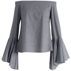 Chicwish Dramatic Gingham Off-shoulder Top with Bell Sleeves (665 ARS) ❤ liked on Polyvore featuring tops, blouses, shirts, long sleeve tops, grey, gray long sleeve shirt, long-sleeve shirt, off shoulder blouse, grey blouse and bell sleeve blouses