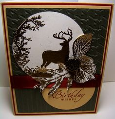 Stamping with Julie Gearinger, masculine birthday or turn into fall card. use wild reserve