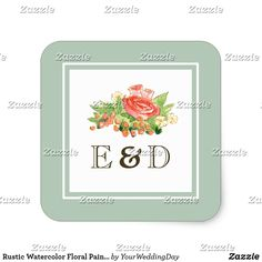 Rustic Watercolor Floral Painting Wedding Stickers Rustic Watercolor Floral Painting Design Wedding Stickers with personalized Bride's and Groom's Monograms. Matching Wedding Invitations, Bridal Shower Invitations, Save the Date Cards, Wedding Postage Stamps, Bridesmaid To Be Request Cards, Thank You Cards and other Wedding Stationery and Wedding Gift Products available in the Rustic Design Category of our Store.