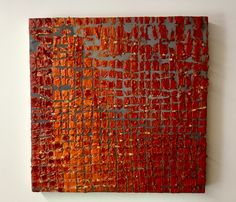 """Craving Red, Encaustic on Panel, 12"""" X 12"""", Anna Wagner-Ott"""