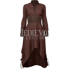 Steampunk High Collar Striped Brown Cotton Dress - VG-0231 by Medieval Collectibles