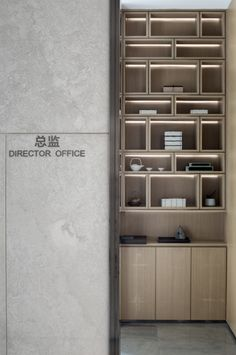 custom made shelves and indirect lighting