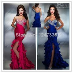 2014 Sexy Mermaid Shiny Evening Gowns Ruffles Skirt Blue Fuchsia Corset Beaded Evening Pageant Ball Gown Prom Dresses New Dress US $139.99