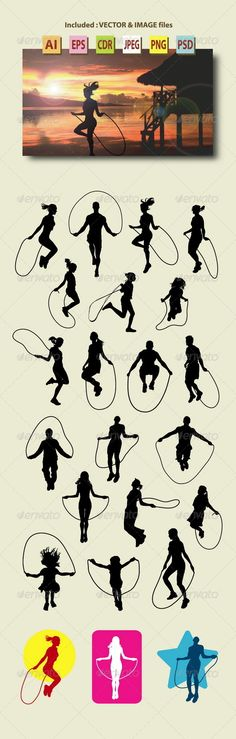 People Skipping Rope Silhouettes - Sports/Activity Conceptual