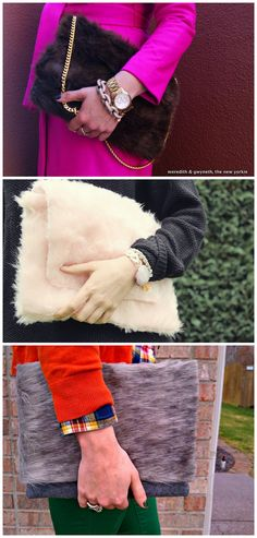 3 DIY Faux Fur Clutch Tutorials. I just went on Polyvore to look at the faux fur bags, and even the cheap brands were really expensive. Top Photo: DIY Faux Fur Clutch Tutorial form Meredith and Gwyneth here. A zipper pouch was used as the base. Middle Photo: DIY Pink Teddy Fur Clutch Tutorial from Fall for DIY here. Bottom Photo: DIY Faux Fur Clutch Tutorial from Homemade by Monica here. A really cheap clutch was used as the base.