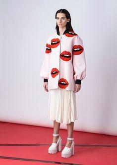 Bomber jacket with pop-art style print and handmade embroidery Marianna Senchina