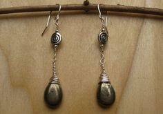 Metallic Green Pyrite Dangle Wire Wrapped Earrings Gothic by Banba, $25.00