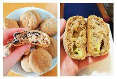 A receita destes pães de queijo e azeitonas já está no blogue. Vegan integrais e muito fáceis de preparar